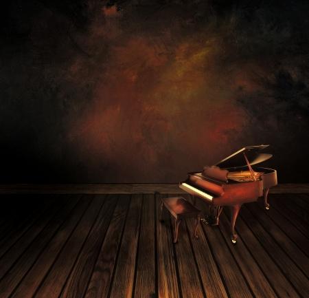 Musik konceptet Bakgrund med Vintage piano på konst abstrakt original- målning Stockfoto