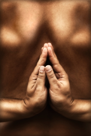 Yoga concept background with reversed namaste pose  Hands in namaste position Stock Photo - 14947958