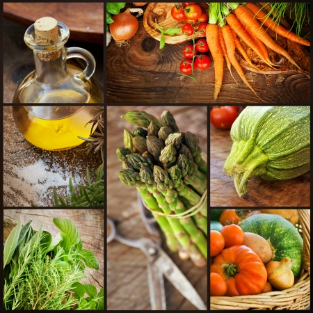 Organic Food concept  Collage of ffresh vegetables   Natural wood with freshly harvested vegetables  tomato, courgette, herbs, spices, olive oil, asparagus and carrots  Stock Photo