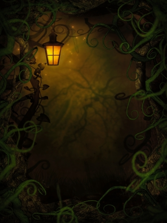 Halloween horror background with spooky vines. Green branches and lantern with copyspace. photo