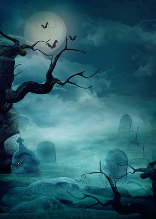 Halloween design background with spooky graveyard,  trees, graves and bats and Copyspace