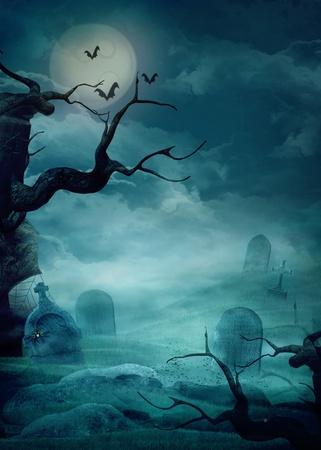 Halloween design bakgrund med spöklik kyrkogård, träd, gravar och fladdermöss och Copy