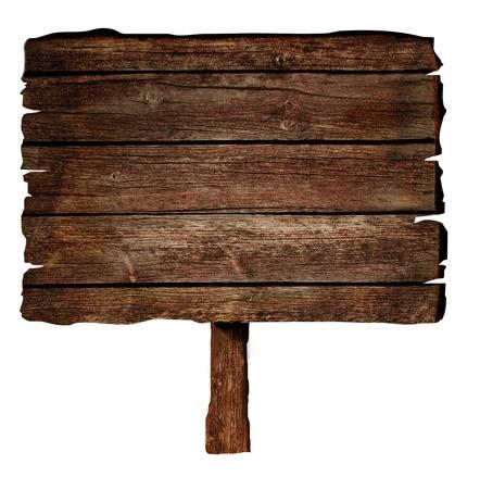 木の看板は、白で隔離されます。 写真素材