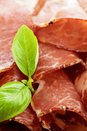 cured ham: Dried pork collar salami ham with herbs