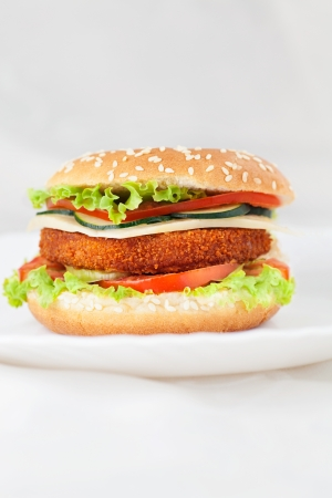 Deep fried chicken or fish burger photo