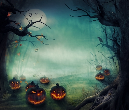 autumn background: Halloween design - Forest pumpkins. Horror background with autumn valley with woods, spooky tree, pumpkins and spider web. Space for your Halloween holiday text.  Stock Photo