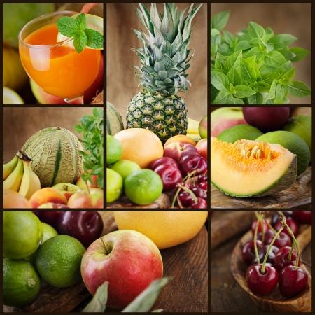 Mat colage serien. Collage av färsk frukt. Fruktjuice, pinneapple, äpplen, kiwi, körsbär, lime, grapefrukt, melon och andra orientaliska frukter.