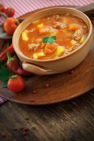 Delicious veal stew soup with meat and vegetables on wood. Stock Photo