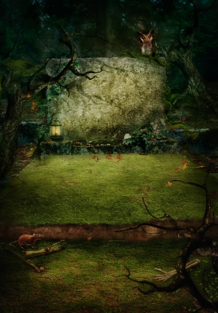 Hallowen design background. Ancient Tomb at graveyard in forest with copyspace. Grave with bones, spooky trees and owl. photo