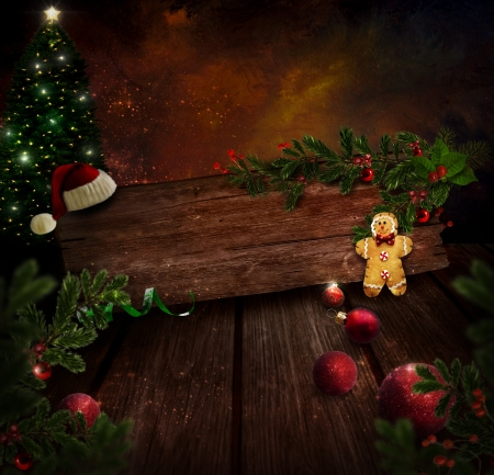Chritmas dise�o - Noche de Navidad �rbol. Fondo con escarcha �rbol de Navidad en la sala de arte con la pintura abstracta. Hombre de pan de jengibre, adornos de Navidad y acebo. Tarjeta de vacaciones de la vendimia con el copyspace. Foto de archivo - 16061953
