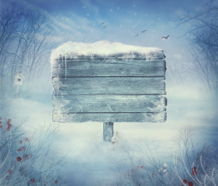 winter background: Winter design background - Christmas valley with sign for copyspace. Wooden sign in snow valley with woods,  tree, rabbit, holly and bird. Space for your winter text. Winter background concept with copyspace.