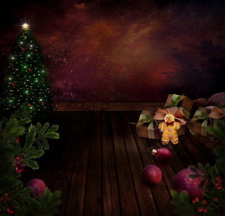 Chritmas design - Night Christmas tree  Background with Glitter Xmas tree in room with art abstract painting  Gingerbread man, Christmas ornaments and Holly  Vintage holiday card with copyspace  Stock Photo - 16278636