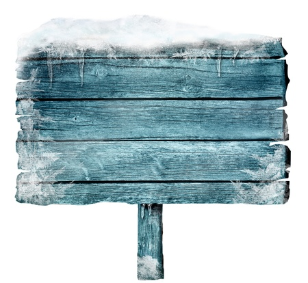 Wooden sign in winter with copyspace  Frozen wood sign with snow, ice and crystals  Space for your text