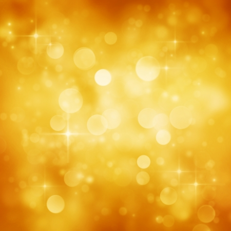 Gold Festive Christmas background  Elegant abstract background with bokeh defocused lights and stars photo