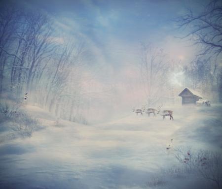 log cabin winter: Winter design - Reindeer forest  Christmas design card  Holiday landscape with winter forest, snow, rabbit and reindeer  Card with copyspace