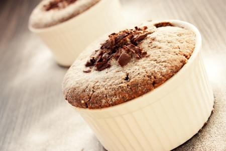 souffle: Food series - desserts. Chocolate souffle with chocolate chips Stock Photo