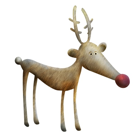 Christmas Reindeer illustration. Funny cartoon reindeer Rudolph character Stock Photo