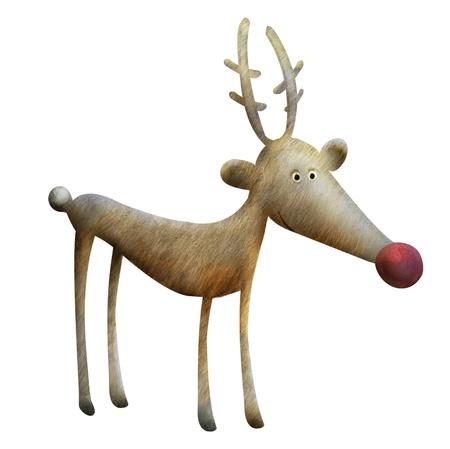 renos navide�os: Ilustraci�n de Navidad del reno. Reno Rudolph car�cter divertido de la historieta Foto de archivo