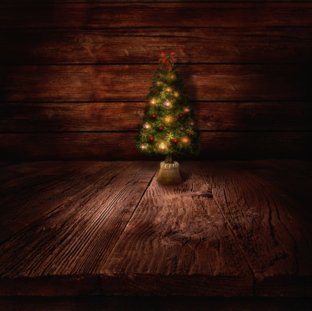 Christmas design - Christmas tree. Xmas winter background in wooden cabin with Christmas tree and wall in the background. Stock Photo - 16678155