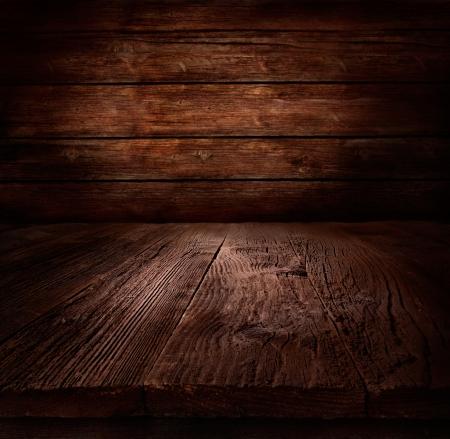 Hout achtergrond - tafel met houten wand