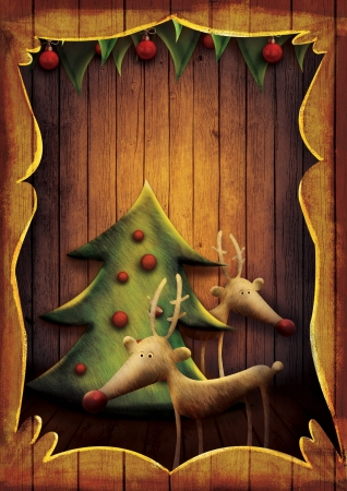 Christmas card - Reindeer with tree in wooden frame. Cartoon childish deer with Xmas tree on wooden background with frame.