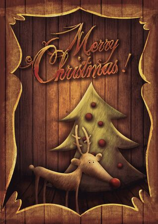 Christmas card - Reindeer with tree in wooden frame. Cartoon childish deer with Xmas tree on wooden background with frame.  photo