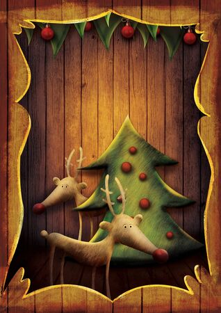 Christmas card - Reindeer with tree in wooden frame. Cartoon childish deer with Xmas tree on wooden background with frame. Stock Photo - 16678150