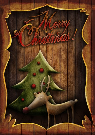 Christmas card - Reindeer with tree in wooden frame. Cartoon childish deer with Xmas tree on wooden background with frame. Stock Photo - 16678158