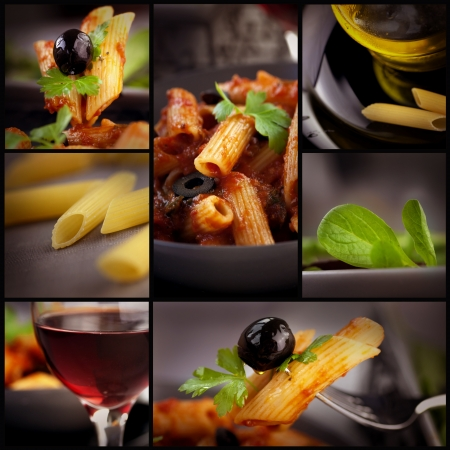 Food series. Collage of pasta images. Penne with tomato, basil and olives, red wine ,olive oil and fresh salad.