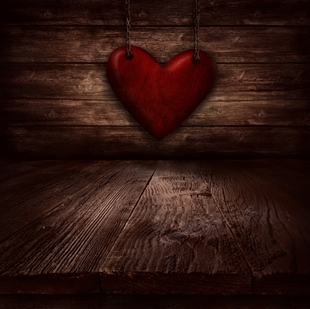 Valentines design - Heart in chains  Illustration with heart hanging on chains on wooden background  illustration