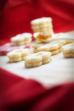 Christmas baking Butter cookies with jam and sugar  photo