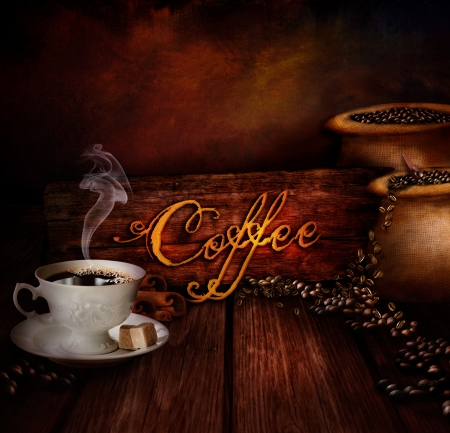Food design - Coffee warehouse  Coffee cup with black coffee and sacks of coffee in the background  Coffee type on wooden background  photo