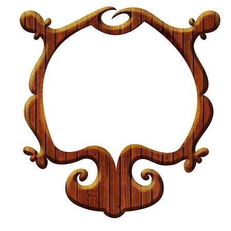 mirror image: Design element - Wooden frame design  Artistic wooden frame isolated on white  Stock Photo