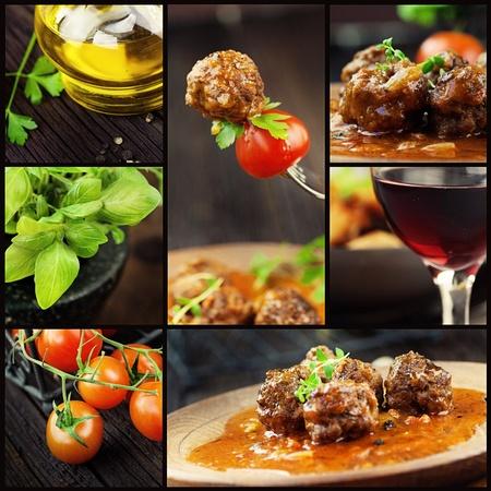 restaurante italiano: Comida serie. Collage comida italiana con bolas de carne e ingredientes: tomates frescos, albahaca, aceite de oliva y vino tinto.