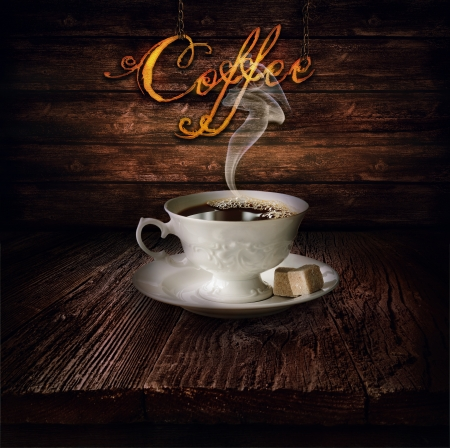 steaming: Coffee design - Black coffee. Background with Wooden table with wooden wall with vintage clock close to midnight.