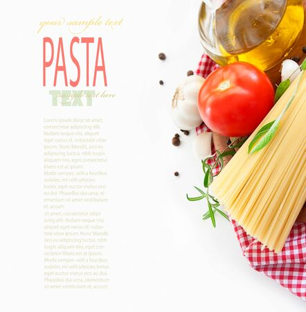 pasta isolated: Italian Pasta with cooking ingredients. Spaghetti with olive oil, garlic and rosemary. Isolated on white Stock Photo