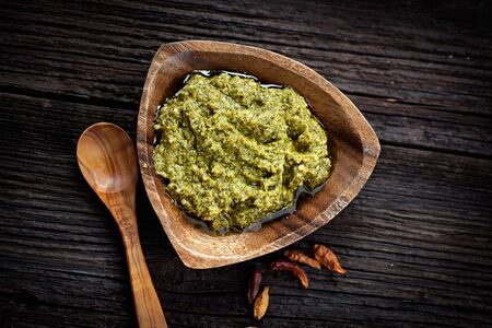 Italian cooking. Fresh pesto sauce made from basil and olive oil. Stock Photo - 17742789