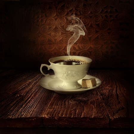 Coffee design - Black coffee. Background with Wooden table with black coffee cup and steam. Damask background photo