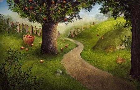 Nature Design - frutteto di mele. Concetto di natura alimentare sfondo. Estate frutta giardino raccolto con frutteto di mele