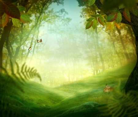 Spring design - Forest meadow. Nature Easter background with rabbit and grass in the deep forest