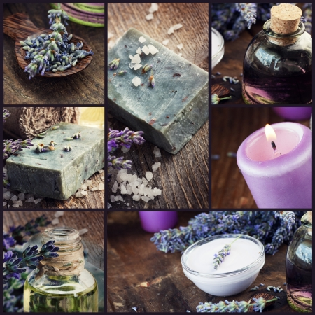 Spa collage series  Collage of rustic lavender welness organic products on wooden background  Lavender soap, shampoo, oil, skin care and lavender oil photo