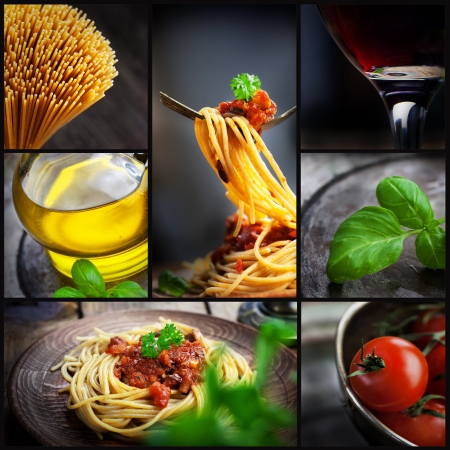 penne pasta: Restaurant series  Collage of pasta with tomato sauce and olives  Italian cooking with Spaghetti, ingredients, basil, wine and olive oil