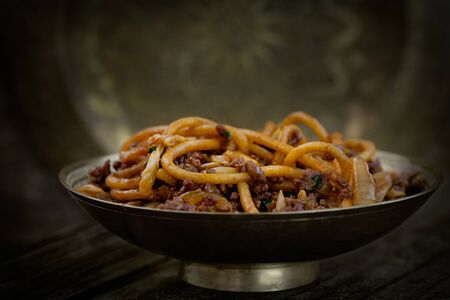 sweet and savoury: Chinese food. Egg noodles with beef and vegetables