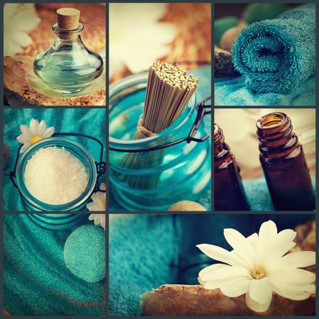 Spa collage series. Spa collage made of five images. Floral water, bath salt, candles and towel.
