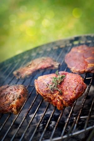 Gegrilltes Schweinesteak mit Kräutern BBQ Barbecue Fleisch Steak auf Grill Feuer im Freien