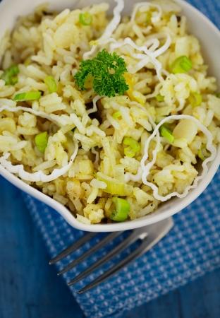 risotto: Vegetarian food. Leek risotto with garnish