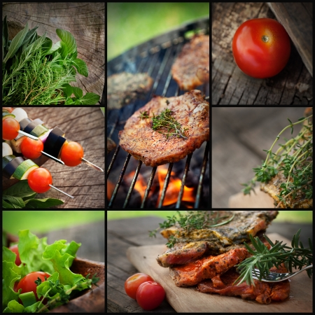 barbecued: Restaurant series. Barbecue BBQ food collage. Fresh marinated meat with herbs and vegetables.