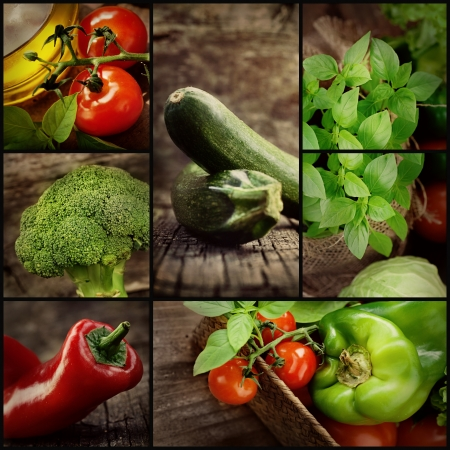 fruits basket: Organic Food concept  Fresh vegetables  Natural wood with freshly harvested vegetables  tomato, zucchini, herbs, spices, olive oil, pepper and broccoli  Stock Photo