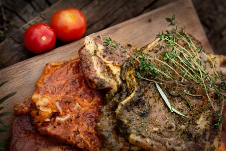 marinate: Raw marinated meat with fresh vegetables for barbecue  BBQ marinade meat