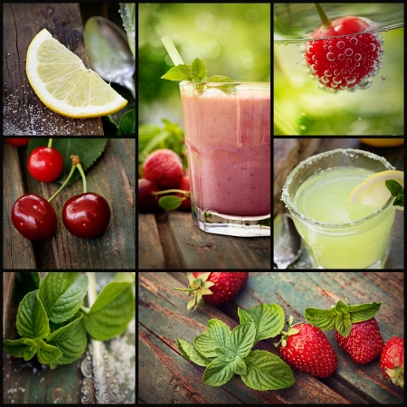 fruit bars: Restaurant series. Collage of summer Fruit drinks. Strawberry smoothie, lemonade and chery fizzy drinks with tropical fruit. Stock Photo